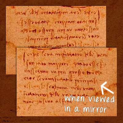 Da Vinci mirror writing example